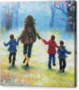 Mother And Three Sons  Acrylic Print