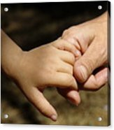 Mother Holding Baby Daughter's Hand Acrylic Print by Sami Sarkis