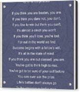 Motivational Poem - The Victor Acrylic Print