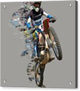 Motocross Rider With Flying Pieces Acrylic Print