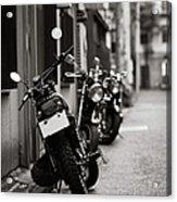 Motorbikes Parked On Street In Tokyo, Japan Acrylic Print by photo by Jason Weddington