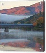 Mount Ascutney And Windsor Cornish Bridge Sunrise Fog Acrylic Print by John Burk