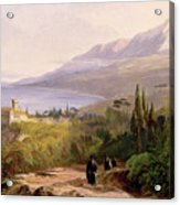 Mount Athos And The Monastery Of Stavroniketes Acrylic Print by Edward Lear