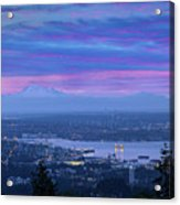 Mount Baker And Vancouver Bc At Dawn Acrylic Print