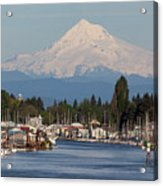 Mount Hood And Columbia River House Boats Acrylic Print