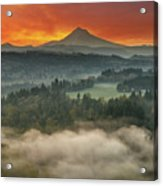 Mount Hood And Sandy River Valley Sunrise Acrylic Print