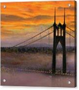 Mount Hood By St Johns Bridge During Sunrise Acrylic Print