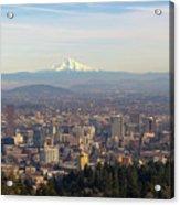 Mount Hood Over City Of Portland Oregon Acrylic Print
