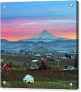 Mount Hood Over Hood River At Sunset Acrylic Print