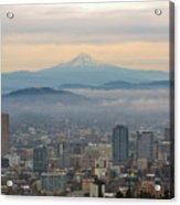 Mount Hood Over Portland Downtown Cityscape Acrylic Print
