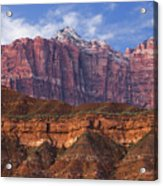 Mount Kinesava In Zion National Park Acrylic Print by Utah Images
