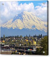 Mount Rainer Over Port Of Tacoma Acrylic Print