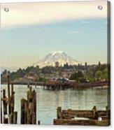 Mount Rainier From City Of Tacoma Washington Waterfront Acrylic Print