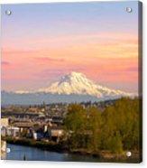 Mount Rainier From Tacoma Marina Acrylic Print