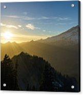 Mount Rainier Golden Dusk Light Acrylic Print