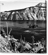 Mount Scott Behind Crater Lake B W Acrylic Print