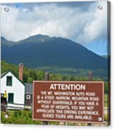 Mount Washington Nh Warning Sign Acrylic Print