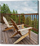 Mountain Adirondack Chairs Acrylic Print