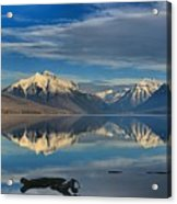 Mountain And Driftwood Reflections Acrylic Print