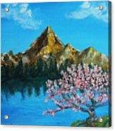 Mountain And Pink Tree Acrylic Print