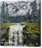 Mountain And Waterfall  Acrylic Print