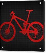 Mountain Bike - Red On Black Acrylic Print