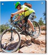 Mountain Biker On The Porcupine Rim Trail Near Moab Acrylic Print