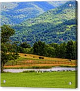 Mountain Farm With Pond Acrylic Print