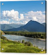 Mountain Filaretka Over Katun River. Altay Acrylic Print