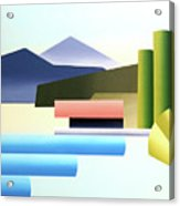 Mountain Lake Dock Abstract Acrylic Painting Acrylic Print
