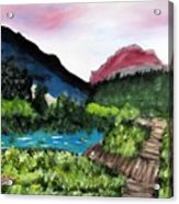 Mountain Lake Walk Acrylic Print