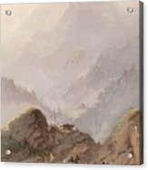 Mountain Landscape In Tirol With Chamois, Johannes Tavenraat, C. 1858 Acrylic Print