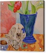 Mountain Lion Skull Tea And Tulips Acrylic Print