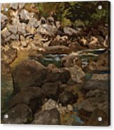 Mountain Stream With Boulders Acrylic Print