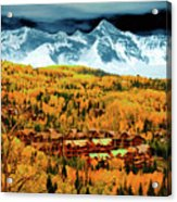 Mountain Village Autumn Acrylic Print