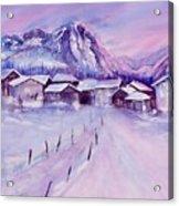 Mountain Village In Snow Acrylic Print