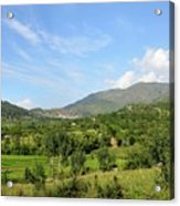 Mountains Sky And Homes In Village Of Swat Valley Khyber Pakhtoonkhwa Pakistan Acrylic Print