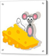 Mouse And Cheese Illustration Acrylic Print