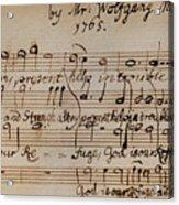 Mozart: Motet Manuscript Acrylic Print