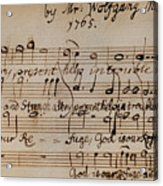 Mozart: Motet Manuscript Acrylic Print by Granger