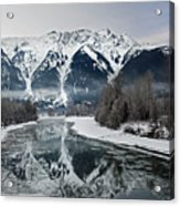 Mt Currie Reflected In Lillooet River Pemberton Acrylic Print