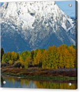 Mt Moran From Ox Bow Bend Acrylic Print