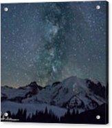 Mt Rainier Milkway Climbers Acrylic Print