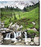 Mt Rainier Paradise Portrait Acrylic Print