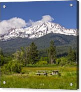 Mt Shasta With Picnic Tables Acrylic Print
