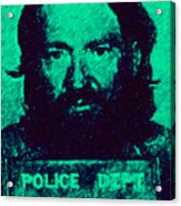 Mugshot Willie Nelson P28 Acrylic Print by Wingsdomain Art and Photography