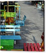 Multi-colored Benches On The Pedestrian Zone Acrylic Print