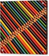 Multicolored Pencils In Rows Acrylic Print