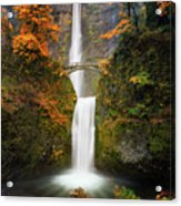 Multnomah Falls In Autumn Colors Acrylic Print