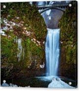 Multnomah Falls With Ice Acrylic Print